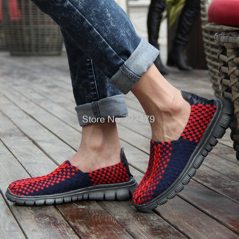 Hot Sale fashion spell color sets foot lazy shoes breathable and comfortable men hand woven shallow mouth flat shoes B825<br><br>Aliexpress