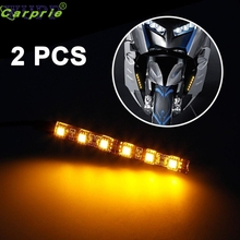 New Arrival  2x Mini Strip Black led motorcycle Turn signal Universal Amber lights Strip 6LED Ap511