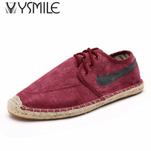 Free shipping espadrilles canvas men 2017 fashion new lace up casual shoes beathable male shoes imported china(China)