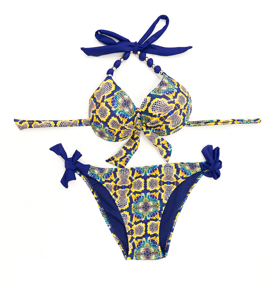 Faerdasi Halter Bikini Set Low Waist Bathing Suits Women Sexy Push Up Beachwear with Tie Side and Center Bow Swimwear Swimsuit 13