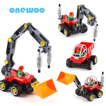 DIY Variety Works Excavator Building Blocks Toys City Engineering Team Assemble Toy Bricks Model Children Early Educational Toy