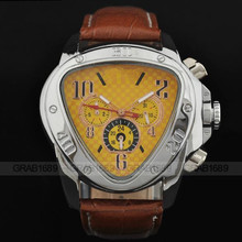 NEW Fashion Trangle Mechanical Watch Men Sport Week/Day/20Hr Wristwatch Leather Watches Free Shipping(China)