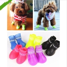 4pcs/lot News Dog Boots Waterproof Protective Rubber Pet Rain Shoes Booties of Candy Colors EJ671124
