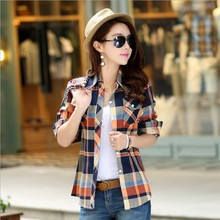 M-XXL Women Spring Autumn Cotton Casual British Style Plaid Shirts Full Sleeve Blouses Tops Cardigans Female Basic Clothing(China)