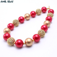 MHS.SUN 2PCS Gold+Red Color Kid Chunky Necklace Christmas Girl Children Bubblegum Bead Chunky Necklace Toddle Kid Jewelry(China)