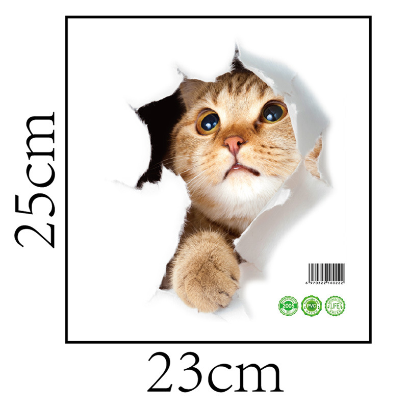 Cartoon animal 3d toilet stickers on the toilet seat cute cats PVC wall sticker bathroom refrigerator door decor stickers decals (23)