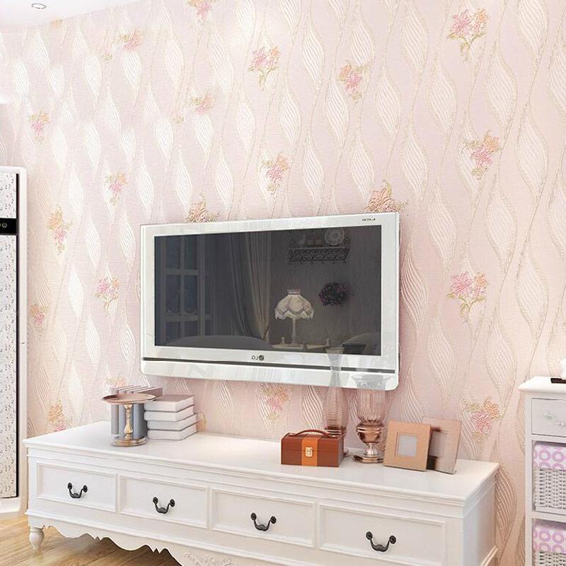 Pastoral Non-woven Damask Wallpaper Flower 3D Stereoscopic Embossed Living Room Sofa Bedroom TV Background Wallpaper Modern<br>