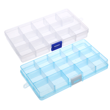 Removable 15 Grids Plastic Storage Boxes Jewelry Earring Organizer Holder Case Multifunctional Sundries Jewelry Storage Box(China)