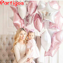 12PCS Baby Shower 18 inch pink white star helium foil Balloons Girls Birthday Party Supplies 1st Party Decor Pure color globos