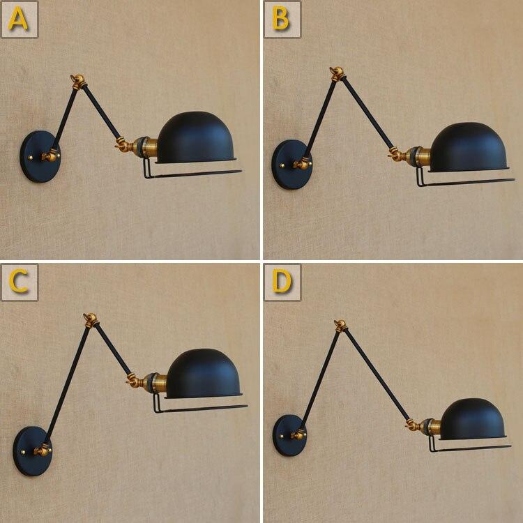 wall lamps loft vintage double long arm wall lamp lamparas de pared adjustable Handle Metal Rustic wall Light Sconce Fixtures<br>