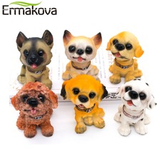 "ERMAKOVA 3.9""(10cm)Resin Bobblehead Dog Statue Puppy Nodding Doll Shaking Dog Bobble Nodder Bubble Head Desktop Car Decor(China)"