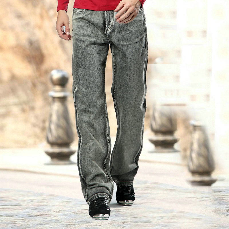2017  Fashion autumn winter thick men long  Straight denim Jeans Plus Size plus size  grey style male casual jeansÎäåæäà è àêñåññóàðû<br><br>