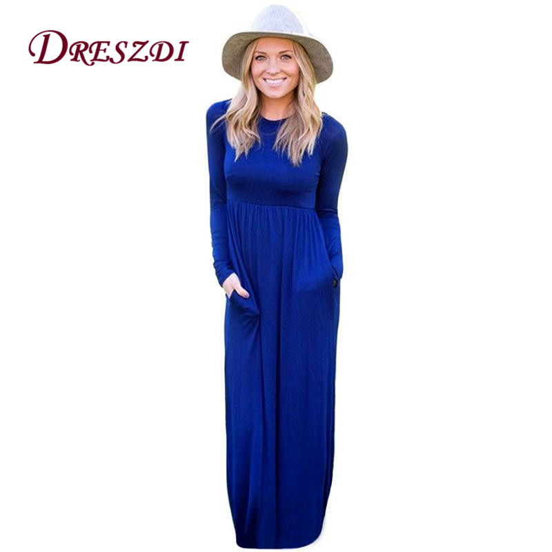 Dreszdi 2017 Autumn Winter Casual Maxi Dress Women Long Sleeve A-Line Floor Long Knitted Dresses Îäåæäà è àêñåññóàðû<br><br>