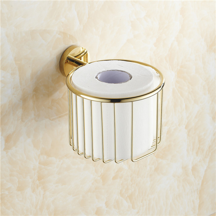 Paper Holders Brass Gold Finish Toilet Paper Roll Holder Bath Shelf Shower Storage Basket Euro Wall Mounted Fitting Rack KH-8685<br>