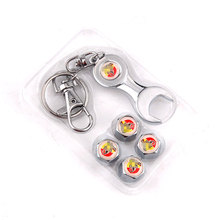 BBQ@FUKA Fit For Abarth FIAT Metal car Wheel Tyre Tire Valve Dust Stems Air Caps Cover Emblem +wrench keyring keychain Key Chain