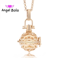 20.5mm Angel Bola Mustache Shape Metal Harmony Cage Pendant DIY Ball Jewelry Necklaces Gift For Women Perfume Pendant L008