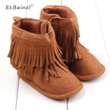 Infant Cotton Soft Baby Girl Shoes Newborn Warm Solid High Top Baby First Walker Toddler Fringe Anti-slip Baby Boots Moccasins(China)