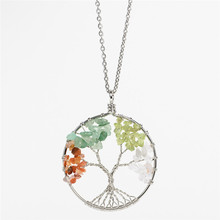 New Round Tree Of Life Pendant Necklace Chip Pink Crystal Natural Stone Necklaces Stainless Steel Chain Women Jewelry