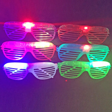 2017 Rushed Led Dance Fashion Shutters Shape Flashing Glasses Light Up Kids Toys Christmas Party Supplies Decoration Glowing(China)