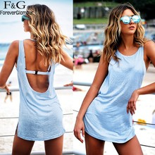 FANALA Women Dress Sexy sleeveless backless Mini Tank Party Dresses o-neck summer beach Loose Light Blue Sundress Solid Vestidos