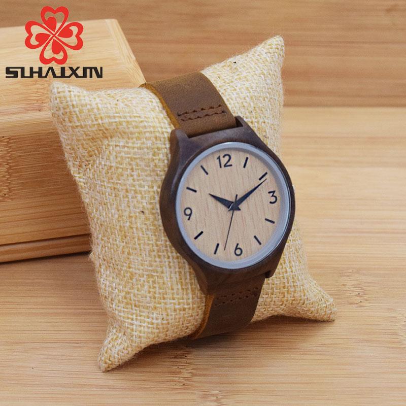SIHAIXIN Women's Wooden Geneva Bracelets Bamboo Watches For Ladies Leather Quartz Casual Retro Wristwatch Feman Clock Gift Box