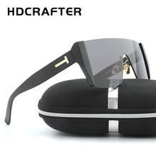 HDCRAFTER Fashion Lady's Square Sunglasses half frame Goggles UV400 Original Brand Designer for women oversize style(China)