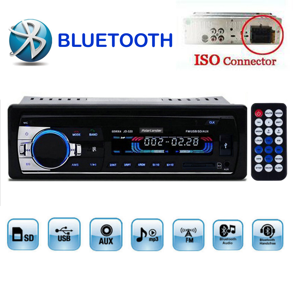 2015 new Car Radio bluetooth MP3 FM/USB one din in dash USB port 12V Car Audio bluetooth handfree car radios blueooth aux in(China (Mainland))