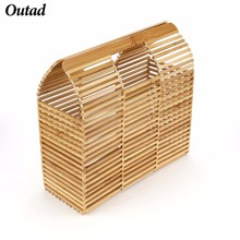 OUTAD Luxury Designer Beach Bag Fashion Bamboo Bag Women Travel Straw Tote Clutch Trunk Ladies Woven Handbags For Girl SJ330503(China)