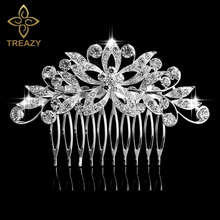 TREAZY Leaf Flower Butterfly Wedding Tiara Diamante Silver Plated Crystal Pearl Hair Combs Hairpins Bridal Jewelry Accessories
