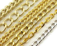 12 meters (6mm-18mm) of Chunky Chain, Twisted Curb Aluminum chain texture cable chain gold,silver,black