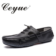 Ceyue New Quality Designer Summer Punching Men Loafers Non Slip Beach Walking Quality Shoes Men Special Lace Up Men Casual Shoes(China)