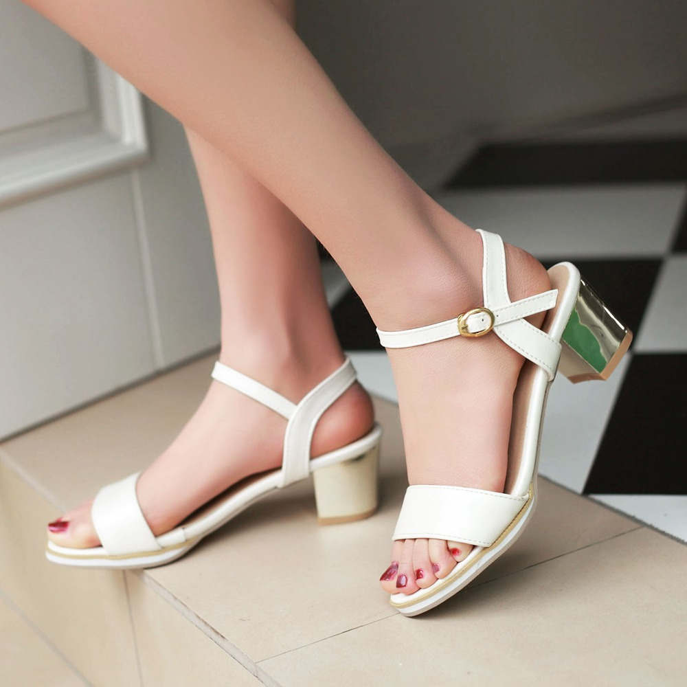 Plus size 34-43 Newest Women Open Toe Sexy Ankle Straps Sandals Fashion Square High Heels Summer Ladies Thick Heel Pumps Sandals<br><br>Aliexpress