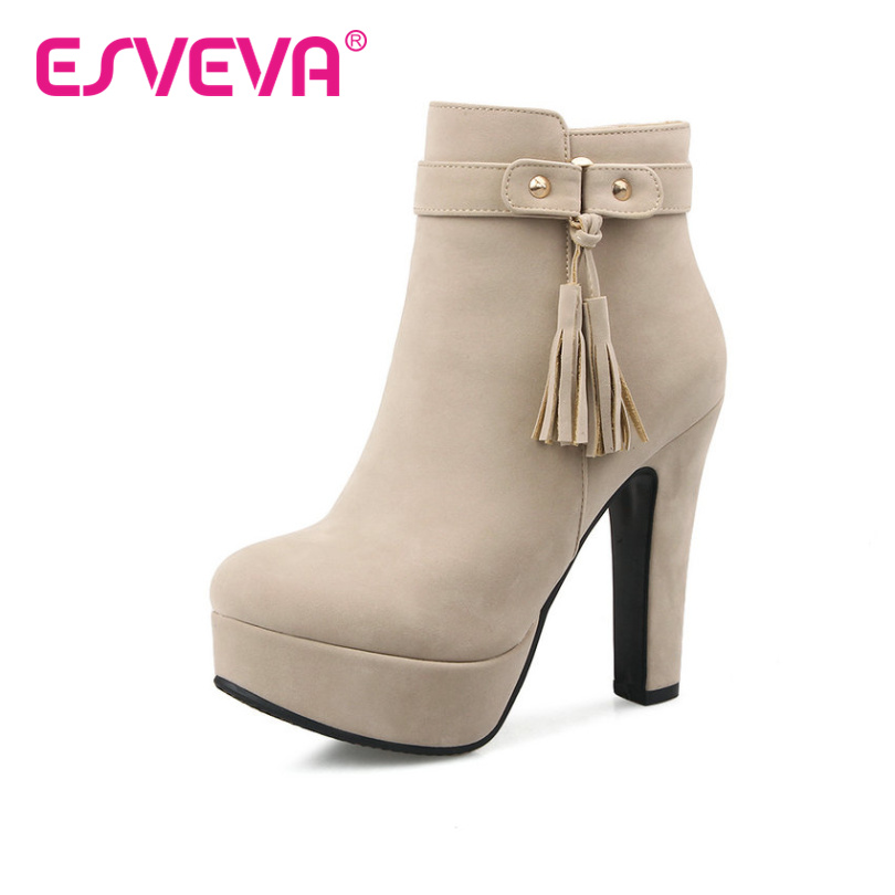 ESVEVA  2017 Elegant Tassel Shoes Women Boots Zipper Square High Heel Ankle Boots Round Toe Autumn Platform Boots Big Size 34-43<br><br>Aliexpress