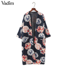Women vintage floral loose kimono coat with lining open stitch pockets outerwear ladies casual fashion long tops CT1434