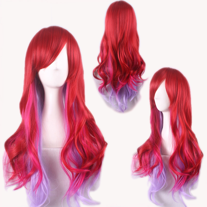 70cm Women Synthetic Cosplay Festival Wig/Long Body Wave Red &amp; Lilac Hair with Long Bangs Wig<br><br>Aliexpress