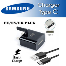 100% Original Samsung Charger + Type-c USB Data Cable For GALAXY S8 S8 +A3 A5 A7 a9 2017 NOTE 8 fast Quick charger EU/US/UK plug(China)