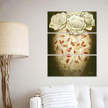 3Pcs Rose Still Life Red Maple Leaf Vase Pictures Decoration Flowers Canvas Painting Wall Art Hanging Living Room Decor Unframed