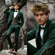 New Fashion Dark Green Men's Wedding Suits Tailored Groomsman Dinner Party Tuxedos Celebrity Party Suits (Jacket+Pants+Bow Tie)(China)