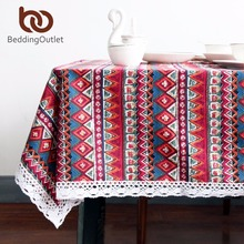BeddingOutlet Red Tablecloth Geometric Bohemian Dining Table Cloth Cotton Linen Multi Sizes Lacy Table Cover Home Decor(China)