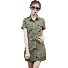 Womens Summer Short Sleeve Military Dress Casual Fashion Slim Mini Army Green Turn-down Collar Ladies A-Line Dress Cotton
