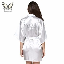 Robe Wedding Bride Women Sleepwear nightwear White Bridal Dress Bathrobe Night dress Home Gown Sleepwear Nightgown Dressing Gown(China)