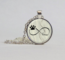2017 new hot  2016 Infinity Symbol with Dog Paw Picture Pendant Necklace Photo Pendant Womens Jewelry Statement Necklace
