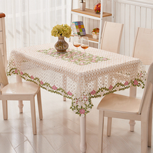 Kingart Hotel Hand Crochet Tablecloth Rectangle Embroidery Table Cloths Hollow Out Flower Table Cover For Wedding & Party Decor(China)