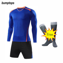 FREE SOCKS Customized Long Sleeve Team Sportswears DIY Mens Soccer Jerseys Football Kits Great Quality Adult Training Uniform