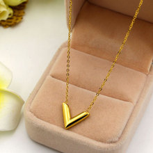 Martick 316L Stainless Steel Gold-color V Letter Shap Pendant Necklace Link Chain Necklace Fashion Jewelry Top Quality For Girl