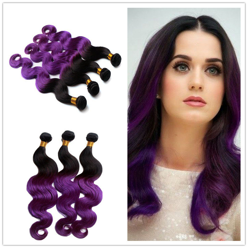 Ombre Brazilian Human Hair Extensions 3bundles/lot Human Hair Extensions Body Wave 1b/purple Ombre Two Tone Ombre Weave Hair<br><br>Aliexpress