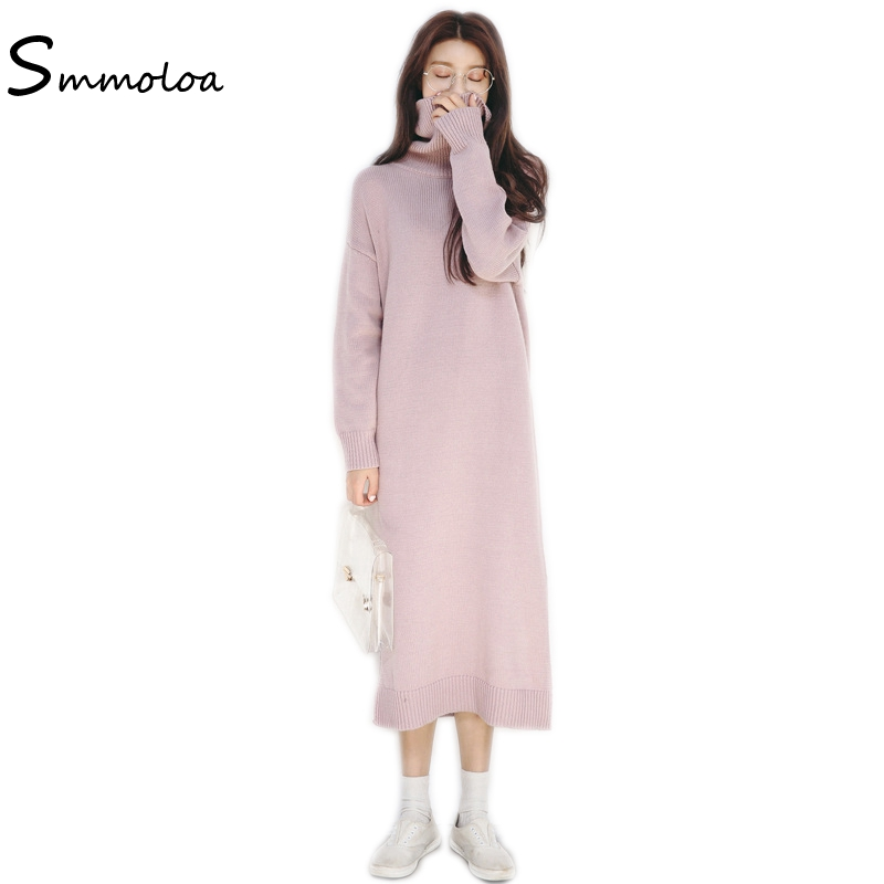 Smmoloa Winter Split Knitted Loose Dress Women Sexy Long Sleeve Warm Sweater Dress Îäåæäà è àêñåññóàðû<br><br>