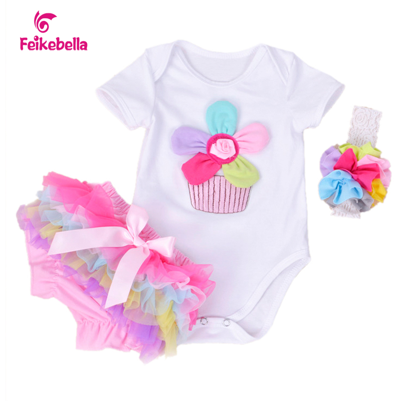 New Summer Baby Girl Clothing Cotton Rainbow Flower Short Sleeve Rompers And Ruffle Bloomers Newborn Infant Girls Clothes Sets<br><br>Aliexpress