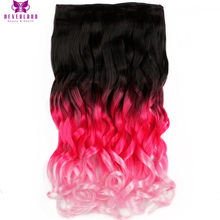 "Neverland 20"" 50cm Long Wavy Curly Pink Ombre Rainbow Clip In Hair Extensions Women Synthetic Hairpieces Free Shipping"