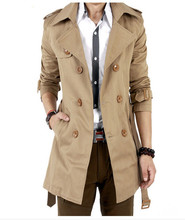 2016 Trench Coat Men Classic Double Breasted Mens Long Coat Masculino Mens Clothing Long Jackets & Coats British Style Overcoat(China)